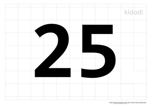 number-25-stencil