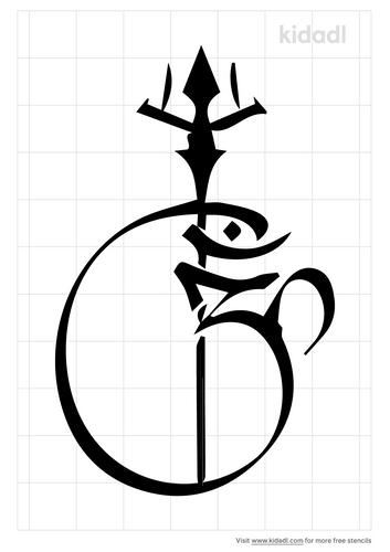 om-ganesh-with-trishul-stencil