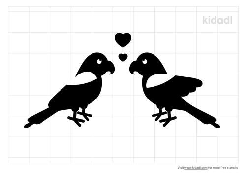 parrot-love-birds-stencil