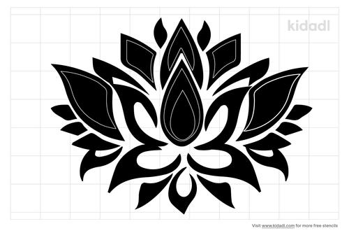 patterned-lotus-flower-stencil