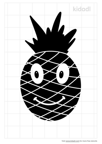 pinapple-with-cute-face-stencil