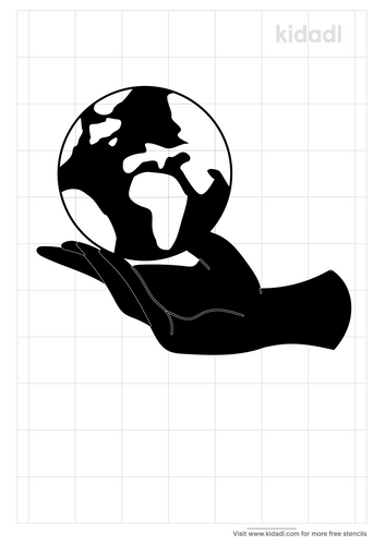 planet-with-hand-stencil