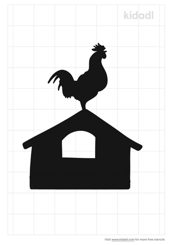 rooster-crowing-stencil