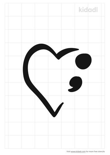 semi-colon-heart-stencil