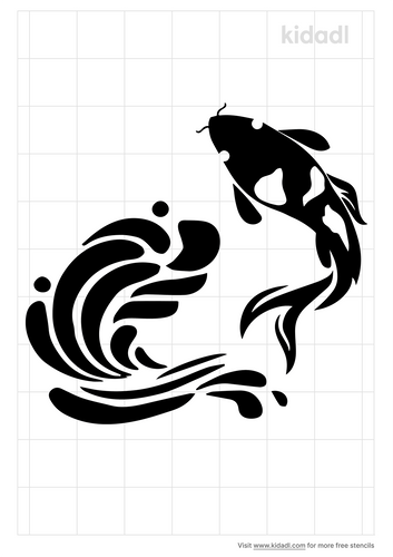 simple-koi-and-waves-stencil