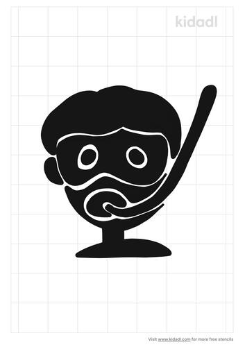 snorkel-kid-head-stencil