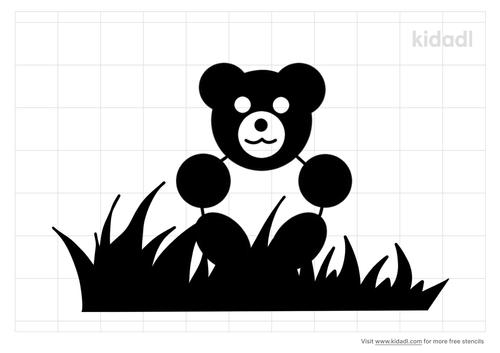 teddy-bear-with-grass-stencil
