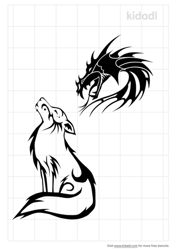 tribal-wolf-and-dragon-stencil