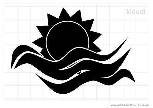 waves-and-sun-stencil