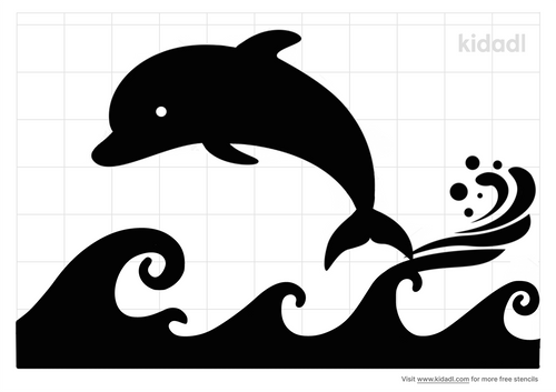 waves-with-dolphin-stencil