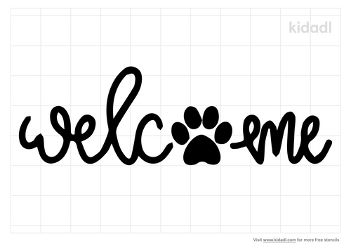 welcome-with-paw-print-stencil