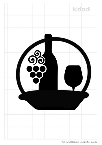 wine-bottle-and-glasses-in-a-basket-stencil