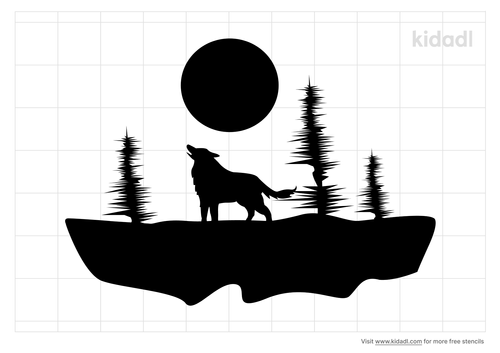 wolf-in-trees-stencil